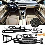 Accesorios para interiores del coche Completo Kit De Coche / Set 5D Interior Del Coche De Fibra De Carbono Brillante Wrap Recorte For BMW E90 E92 E93 2005-2012 Del Protector De La Etiqueta Engomada De