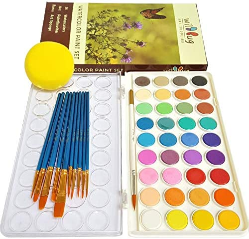 Kids Watercolor Painting Set 36 Color Paint Pans and 10 Brush Kit Quality Non Toxic Washable product image