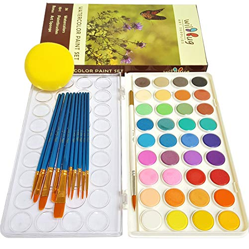 Watercolor Paint Set for Kids and Adults – 36 Solid Color Pans & 10 Brush Kit – Non Toxic, Washable Water Colors for Beginner Artists – Detachable Palette & Sponge for No Mess Portable Travel Coloring