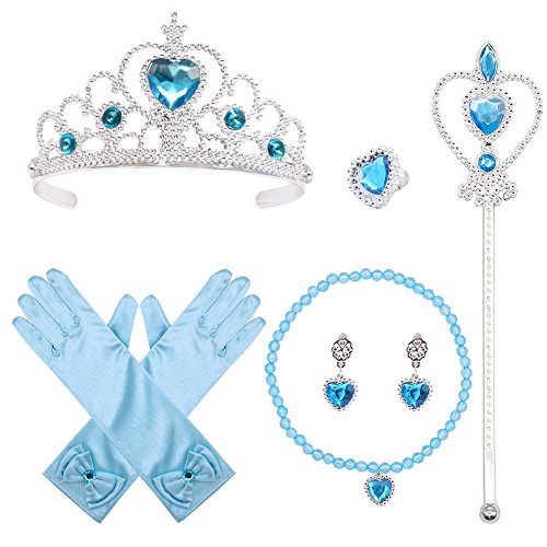 3 otters Princess Dress Up, Princess Costume Accessories Party Accessory Queen Cosplay Best Gift for Girl, 6 Sets Blue