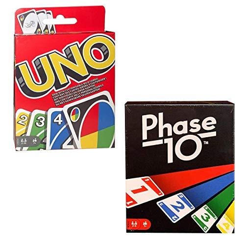Mattel Games Juego de cartas con UNO y fase 10 (176802)