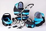 Matrix Moderno Travel Sistema cochecito bebé Buggy Paseo. Sistema + Bolso cambiador + Protector Lluvia + anti-insectos negro/azul Talla:3in1 (inkl. Babyschale)