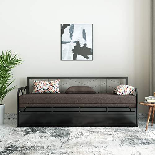 Amazon Brand - Solimo Darius Metal Sofa Cum Bed (Brown)