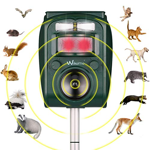 Wikomo Animal Repeller, Waterproof Animal Repeller Rodent and Pest Repeller Cats, Dogs, Mice, Rabbit, Squirrel Repeller, Motion Activated and Ultrasonic Sound to Repel Animal Away