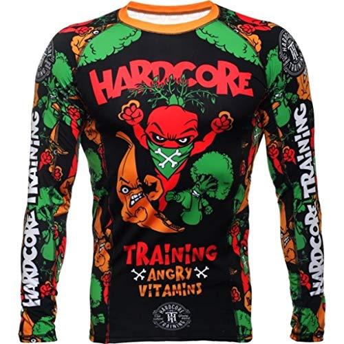 Hardcore Training Rash Guard For Men - Compression Shirt - Long Sleeve MMA Fitness Gym Crossfit-Multicoloured-l Camisa de Compresión