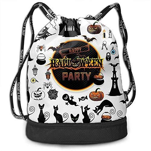 Big Set Elements für Halloween Beam Drawstring Backpack Unisex