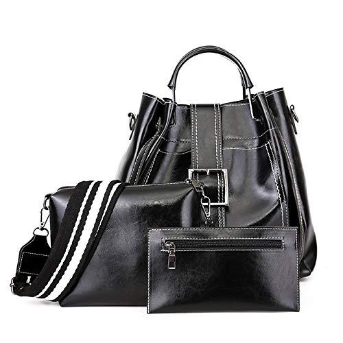 KAIFAN Single-Shoulder Bags 3 In 1 Fashion Belt Buckle PU Shoulder Bag Ladies Handbag Messenger Bag, Suitable for Ladies Outgoing Shopping Travel Caryy (Color : Black)