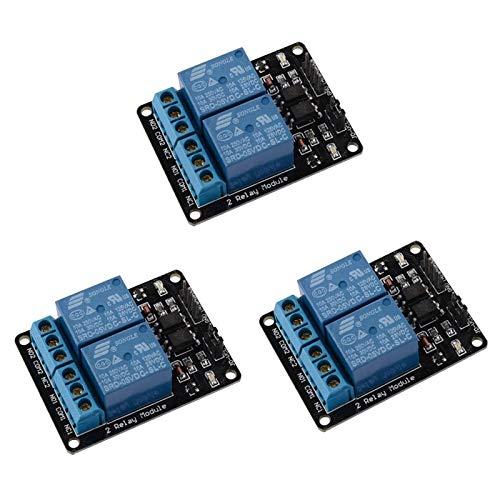 ARCELI 3pcs 2 Canales DC 5V Módulo de relé para Arduino UNO R3 DSP Arm PIC AVR STM32 Raspberry Pi con optoacoplador Tarjeta de expansión de Disparo de bajo Nivel
