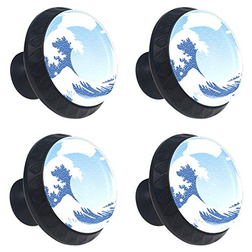 4 pomos de cristal para armario de 30 mm, tiradores de cristal para cajones, tiradores de cajón de cristal para cocina, baño, estilo vintage japonés grandes olas azules
