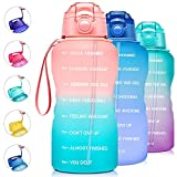 Giotto Large 1 Gallon/128oz Motivational Water Bottle with Time Marker & Straw,Leakproof Tritan BPA Free Water Jug,Ensure You Drink Enough Water Daily for Fitness,Gym and Outdoor Activity-Rose/Green