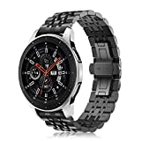 Fintie for Samsung Gear S3 / Galaxy Watch 46mm バンド 22mm 時計バンド ステンレスバンド 金属ベルト 交換ベルト 調整工具付き Gear S3 Frontier/S3 Classic/Galaxy Watch 46mm 対応(デザインB,ブラック)