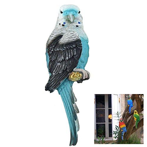 Papagei Wellensittich türkis - blau/grau 31 cm für Zaun, Wand und Balkon. Eine schöne Zaunfigur, Zaunhocker, Zaungast oder Deko Dekoration Gartenfigur. Für Balkon, Terrasse, Zäune, Wände, Sträucher und Bäume