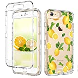 GUAGUA iPhone 6S Plus Case,iPhone 6 Plus Case Clear Transparent Cover Lemon Fruit Printed Three Layer Hybrid Hard Plastic Soft Rubber Shockproof Protective Phone Case for iPhone 6 Plus/6S Plus,Yellow