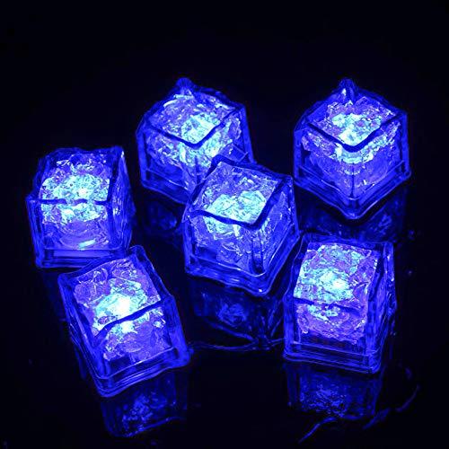(Paquete de 12) Led Ice Cube Enter Liquid se ilumina automáticamente en azul, Lámpara LED a prueba de agua, Para cubo de hielo o Torre de champán, Aplicar a Bar, Club, Boda, Fiesta familiar