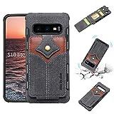 Aralinda Funda protectora magnética de tela de arce con textura de tela de lona y TPU a prueba de golpes con ranuras para tarjetas para Samsung Galaxy S10e. (Color: Negro)