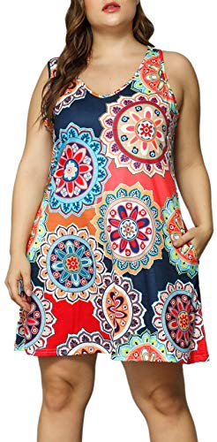 Women V Neck Sleeveless Floral Print Pocket T Shirt Dresses Plus Size Casual Midi Tank Dress Beach Cover up Sundress (Navy, 4X Plus)