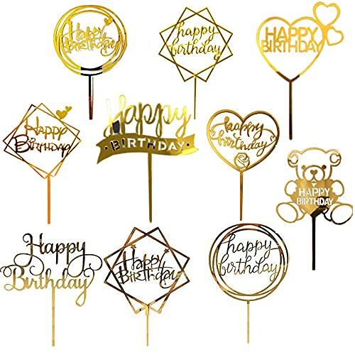 10 Stück Happy Birthday Cake Topper Geburtstag Kuchen Topper Gold Acryl Cupcake Topper Party Dekoration