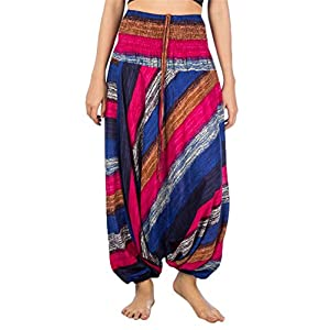 Lofbaz Jumpsuit Pantalones Harem de Cintura Ojo de la Flor Fruncido para Mujeres | DeHippies.com