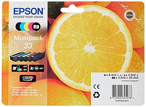 Epson Multipack 5 Colores Claria Premium 33 | Tinta Original | Cartuchos para impresoras Expression Premium XP-530, XP-630, XP-635, XP-830, XP-540, XP-640, XP-645, XP-900, XP-7100