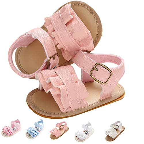 Infant Baby Girls Sandals, Premium Soft Rubber Sole Anti-Slip Summer Toddler Flats First Walkers Shoes Pink Wave 13cm