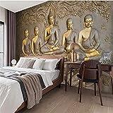 JFSZSD Papel Pintado Piedras 3D Estatua de Buda en relieve Vinilo Pared Infantil Interior|Fotomurales pared|Fotomural Decorativo Decoración comedores 350CMx250CM