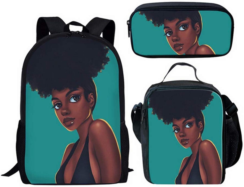 CVDEKH Ragazze afroamericane 3D Set di Zaini per Ragazzi Adolescenti Cool autotoon Zaini per Bambini Borse per Bambini Astuccio