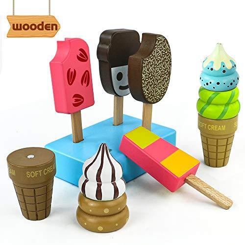 jerryvon EIS Spielzeug Holzspielzeug Lebensmittel Kinder Spielküche Rollenspiel Kaufladen Zubehör Eisstiele Aus Holz Für Kinder Mädchen Junge ab 3 4 5 Jahre