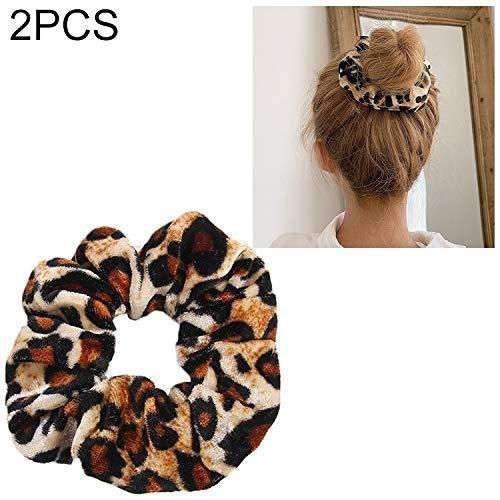 nobrand Hauptbänder Hoops 2 PCS Velvet Leopard-Haar-Ring Gold-Samt Stirnband Flanell-Haar-Band Hair Haar Tasche Blume (Leopard-Druck) (Farbe : Leopard Print)