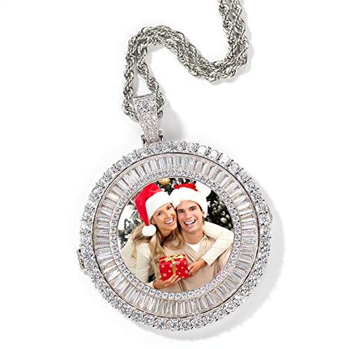 Collar de foto personalizado collar giratorio collar con colgante de circonio cuadrado joyería de Hip Hop collar de moda(Plata 22)
