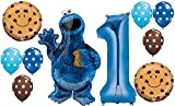 10pc BALLOON set NEW COOKIE MONSTER sesame street PARTY 1st BIRTHDAY first GIFT...