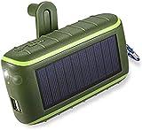 Cargador Solar 8000mAh Cargador de teléfono con manivela portátil 2 Puertos USB Banco de energía Solar con Linterna LED Mosquetón-Negro