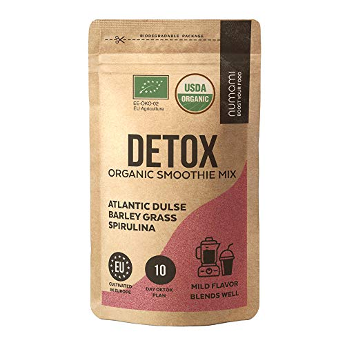 Detox Organic Smoothie Powder with Healthy Spirulina, Atlantic Dulse and Barley Grass Juice Powder, Premium Quality superfood from Europe