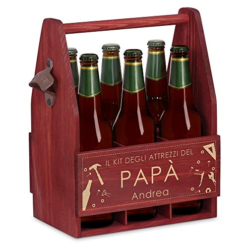 Murrano Portabottiglie personalizzato per la Birra in legno - 6 bottiglie standard - idea regalo compleanno - Perfetto per ogni uomo amante della buona Birra - Kit del Papà