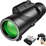 HD Monocular Telescope with Smartphone Holder, 12x50 High Power Handheld Telescope for Adults, IPX6 Waterproof & Night Vision, Telescopic tripod, Metal BAK4 Prism, for Bird Watching/Hunting/Travelling