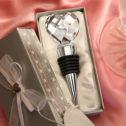 AT27clekca Tappo Bottiglia di Vino Bar Strumenti e Accessori Cromato Tappo Bottiglia di Vino Cristallo Cuore Design Matrimonio Bomboniere Bevanda Ricevimento