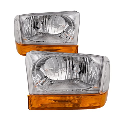 HEADLIGHTSDEPOT Chrome Housing Halogen Euro Headlights 4-Piece Set w/Stock Corner Lights Compatible with Ford Excursion F-250 Super Duty F-350 F-450 F-550 Includes Driver and Passenger Side Headlamps