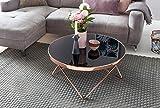 FineBuy Couchtisch FB45659 Glas ø 82 cm Metall Wohnzimmertisch Modern   Glastisch Rund Sofatisch Wohnzimmer Schwarz   Moderner Coffee Table mit Glasplatte   Kleiner Runder Design Kaffeetisch - 4