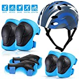 MOVTOTOP Kids Helmet and Knee Pad Set,Skateboard Helmet and Knee Pads Elbow Wrist Pads Set for Toddlers Ages 3-8 Adjustable Kids Protective Gear Set for Skateboard Roller Cycling Scooter Sports