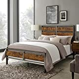 Walker Edison Arcadia Queen Size Bed Frame, Brown Reclaimed Wood