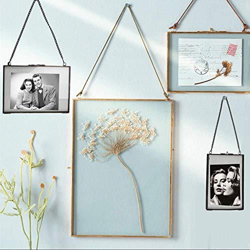 Piore Industriële Stijl Dubbelzijdig Glas Fotolijst Bloem Plant Muur Hangend Frame Specimen Staand Displayhouder, B 20x15cm