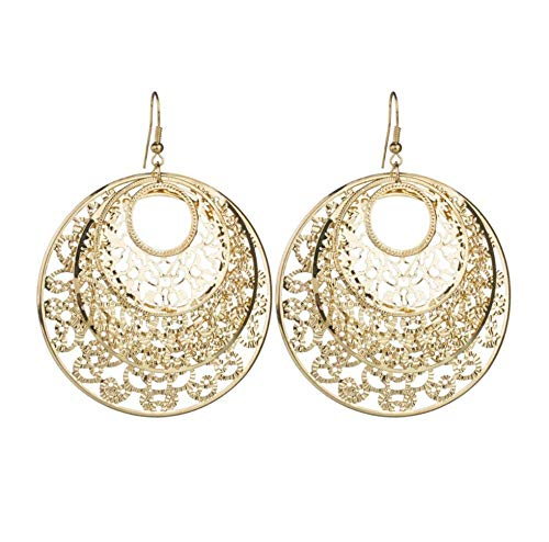 Vintage Solid Color Hollow Metal Petal Pattern Hoop Stitching Drop Earrings Punk Circle Pendent Earrings for Women Girls Jewelry 2pcs