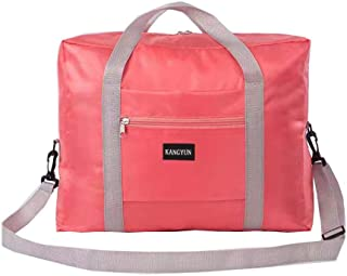 Foldable Travel Bag Travel Duffle Bag Carry on Bag with Lining and Shoulder Strap Upgrade (Pink)