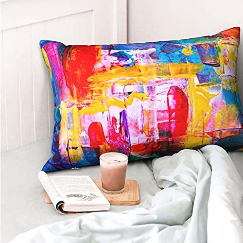 VVSADEB Funda de almohada colorida efecto artístico 50 x 70 cm, funda de almohada con cremallera, suave y acogedora, arrugas, tamaño estándar 1 paquete