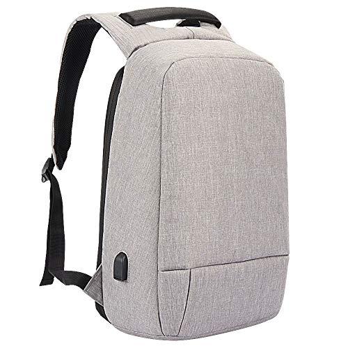 ZYJ Waterdichte Anti-Diefstal Laptop Rugzak USB Opladen Poort Zakelijke Scannen Smart met Regenhoes 15.6-inch Grijs Zwart