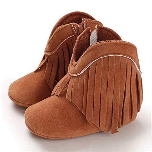 TIMATEGO Baby Girl Cowboy Tassel Boots Side Zipper Non Slip Stay On Booties Infant Toddler First Walker Warm Winter Crib Shoes 3-18 Months, Baby Girl Boots 3-6 Months Infant, 02 Brown