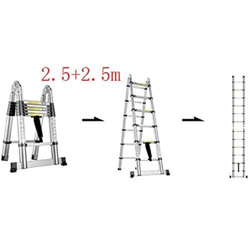 LHQ-HQ Escalera, multi-función escalera plegable de aluminio, escalera telescópica portátil, bricolaje escalera extensible, Capacidad de carga 150 kg (Color : 2.5+2.5m): Amazon.es: Bricolaje y herramientas