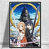 linbindeshoop Sword Art Online Anime póster e Impresiones Lienzo Cuadros artísticos de Pared para la decoración del hogar de la Sala de Estar(LU-1052) 50x70cm Sin Marco
