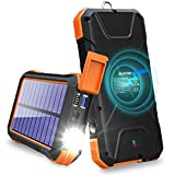 BLAVOR Solar Charger Power Bank 18W, QC 3.0 Portable Wireless Charger 10W/7.5W/5W with 4 Outputs & Dual Inputs, 20000mAh External...