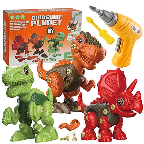 Price comparison product image Fundia Take Apart Dinosaur Toys for Kids,  3 Pack Dino Set Kids Learning Toys with Electric Drill for 3-7 Year Old Boys and Girls Birthday Gifts ,  STEM Toys for 3 4 5 6 7 Year Old Boys and Girls