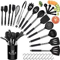 set di utensili da cucina in silicone, 30 pezzi resistente al calore antiaderenti utensili dautensili da cucina, senza bpa, utensili da cucina con manico in acciaio inossidabile -10 ganci